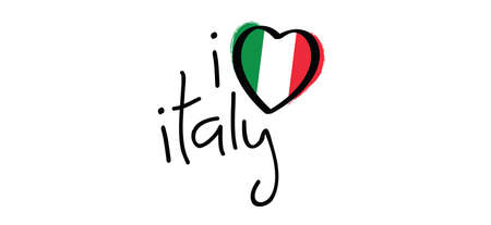 Slogan i love italy with with the Colors of italy flag. Italian slogans. Love, heart romance icons. Funny vector best quotes signs for banner or card. Happy motivation and inspiration message concept. Love romantic travel, vacation holiday quote.