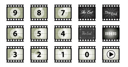 35 mm blank slide old film strip background. Texture frame filmstrip. Cinema template image Flat vector signs, Transparent photo picture textures Funny golden globes. Analog film. Panorama frames