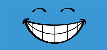 Slogan Hello or happy blue monday with smile Vector icon sign The most depressing day of the year The day commit suicide and depression motivation, third monday January Funny sadness cartoon smiling Иллюстрация