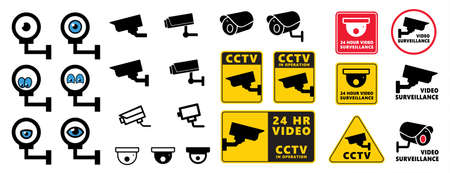 Safety security surveillance video camera eye cctv alert attention zone set icon vector symbol sign eps Prohibition Digital TV internet admittance In operation Closed Circuit Television No entry