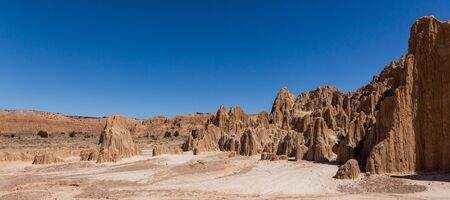 Cathedral Gorge State Park is located in a long, narrow valley in southeastern Nevada, where erosion has carved dramatic and unique patterns in the soft bentonite clay. Stock Photo