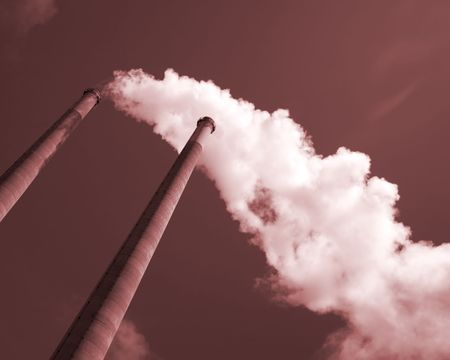 Dramatic view of Smoke Stacks in Sepia Color