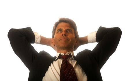 big deal: Business Man Relaxed after the big deal Stock Photo
