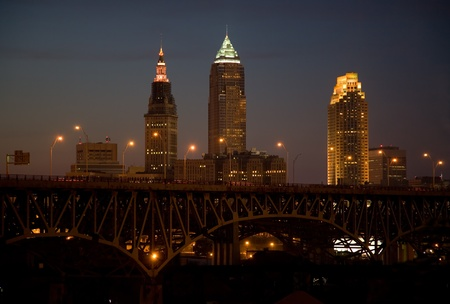 Cleveland Skyline just at Dusk from Tremont photo