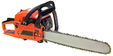 Chainsaw isolated in white photo
