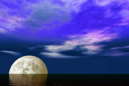 reflects: Moonrise over the ocean with glittering waves over a purple dark blue sky and shining stars.