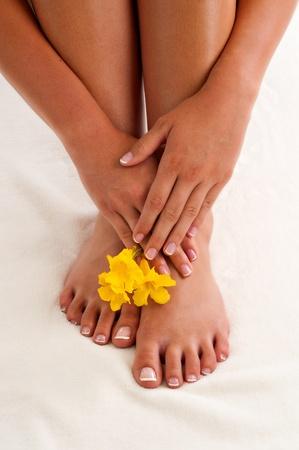 manicura pedicura: Franc�s manos cuidadas posicionado por encima de sus pies, pedicura franc�s. Tambi�n hay tres flores de color amarillo la foto.