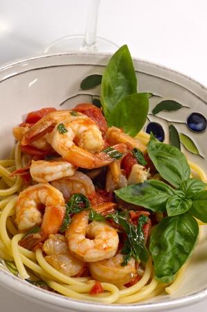 Italian seafood pasta with spaghetti. Stock Photo