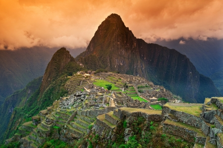 ruins is ancient: View of the Lost Incan City of Machu Picchu near Cusco, Peru.