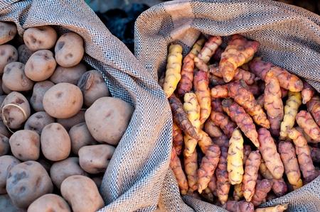 urubamba valley: Sacks of potatoes in a Peru marketplace in the Urubamba Valley.