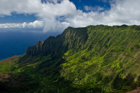 Landscape shot of the Na Pali Coast in Kauai, Hawaii on a partly cloudy day.