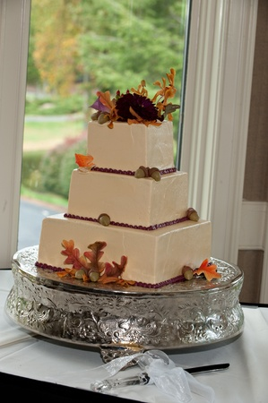 Leaves and acorns adorn this fall themed three-tier wedding cake. Each tier is square in shape and the cake is set up for a wedding reception.