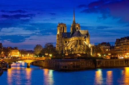 ノートルダム大聖堂 (1163) とパリのアパートメント、セーヌ川、パリ、フランスの夜ライトアップの土手に沿って見事な。