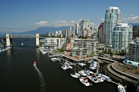 View of the Vancouver waterfront skyline in British Columbia, Canada. Stock Photo