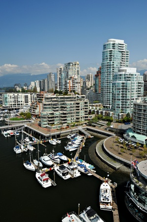 marina life: View of the Vancouver waterfront skyline in British Columbia, Canada. Stock Photo