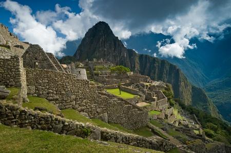 incan: View of the Lost Incan City of Machu Picchu near Cusco, Peru.  Stock Photo