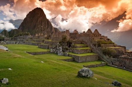 View of the Lost Incan City of Machu Picchu near Cusco, Peru.  Stock Photo
