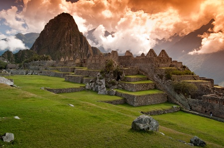 peru architecture: View of the Lost Incan City of Machu Picchu near Cusco, Peru.  Stock Photo