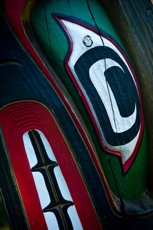the totem pole: Detail of a totem pole located in Victoria, British Columbia.