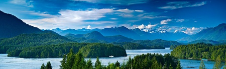 vancouver island: Panoramic view of Tofino.  The sleepy village of Tofino on the West coast of Vancouver Island is now becoming a hot spot for tourism and second homes.