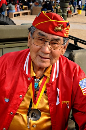 secret code: Phoenix, Arizona, USA - December 13, 2008: Alfred Peaches, one of the original Marine Navajo Code Talkers, attends a VA event at South Mountain Park.   Navajo Code Talkers were young Navajo men who transmitted secret communications on the battlefields of