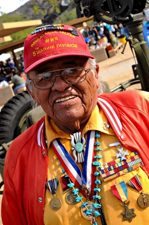 ii: Phoenix, Arizona, USA - December 13, 2008: Keith Little, one of the original Marine Navajo Code Talkers, attends a VA event at South Mountain Park.   Navajo Code Talkers were young Navajo men who transmitted secret communications on the battlefields of WW