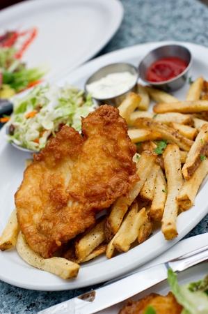 Delicious plate of Halibut Fish and Chips. photo
