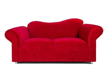 현대 빨간 소파, 흰색 배경, 실내 장식 이미지입니다. 스톡 콘텐츠