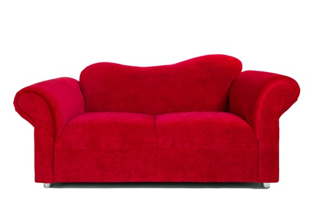 Contemporary red sofa isolated on white background, interior decoration image.
