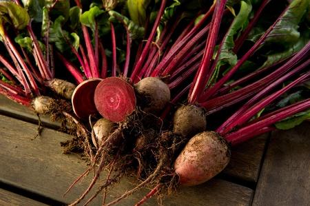 Verse biologische bieten net geplukt uit de tuin geschoten op een houten tafel. Stockfoto