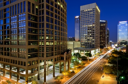 Long exposure photo of the a city street in downtown Phoenix, Arizona at night. Editorial