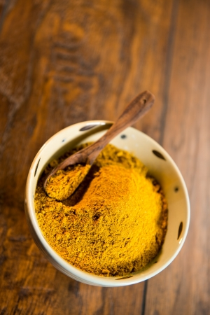 curry powder: Decorative ceramic bowl filled with yellow curry powder.  There is a wood spoon in the bowl. The bowl is shot on a wood surface.
