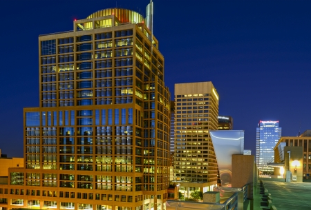 Long exposure photo of the a city street in downtown Phoenix, Arizona at night. Stock Photo