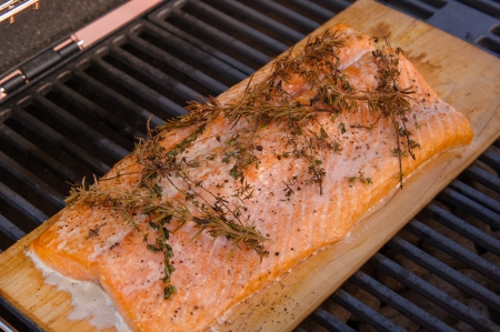 pink salmon: Wild Alaskan salmon fillet on a cedar plank on the grill.  Its seasoned with rosemary, salt and pepper.