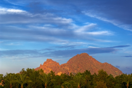 Looking across vivid green trees at Camelback Mountain against a deep blue sky.  Phoenix, Arizona, USA.