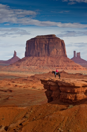 tribal park: MONUMENT VALLEY, UTAH - NOVEMBER 20  An unidentified navajo man rides a horse on November 20, 2010 at Monument Valley, Utah, USA  Monument Valley is a navajo reservation area