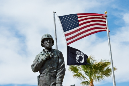 Statue and Flags at the General Patton Museum.