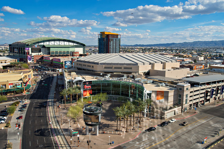 PHOENIX, USA - FEBRUARY 4: View of US Airways Center and Chase Field on February 4, 2014 in Phoenix, Arizona. Chase Field is the home of the Arizona Diamondbacks.  US Airways Center is the home of the  Phoenix Suns, Phoenix Mercury, and Arizona Rattlers. Editorial