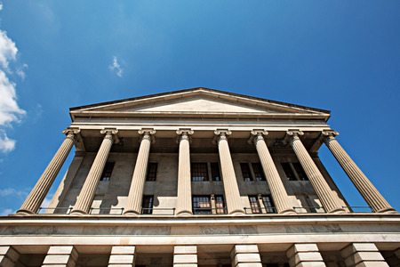 tn: Detail of the Tennessee State Capitol building located in the city of Nashville, Tennessee, USA.