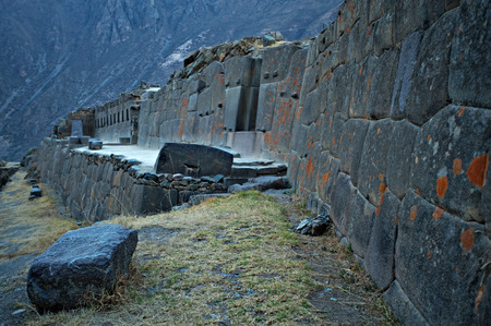 sacred valley of the incas: Inca ruins and archaeological site in Ollantaytambo in the Sacred Valley of the Incas near Cuzco, Peru.