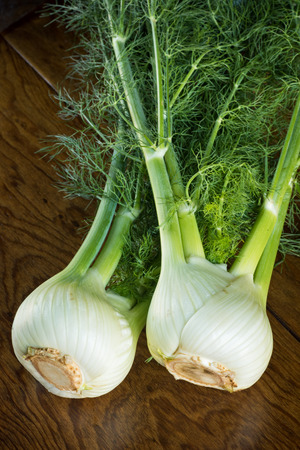 Looking at 2 fresh organic bulbs of fennel shot on a wood table. Stok Fotoğraf