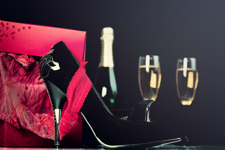 Red Lingerie In Gift Box, High Heels, Champagne And Glasses. Valentine Day, Love Concept. 스톡 콘텐츠