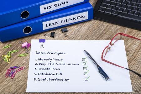 De principes van Lean, Lean Thinking en Six Sigma Het Populaire Zakelijk en Performance Improvement Concept.