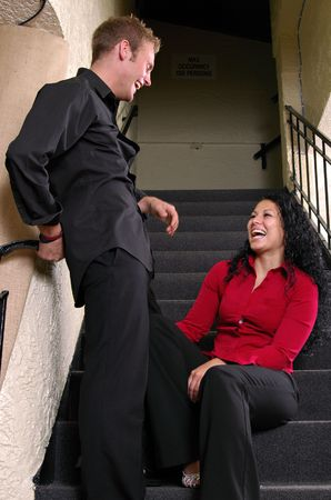 stairwell: Couple laughing in stairwell