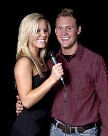 karaoke singer: Announcers on stage