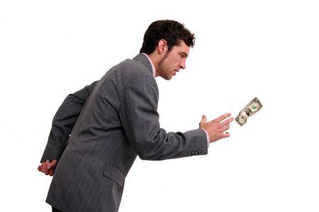 Een zakenman achter een dollar bill