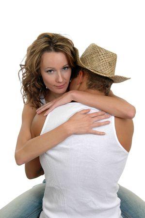 parejas sensuales: Una pareja de j�venes encerrados en un abrazo