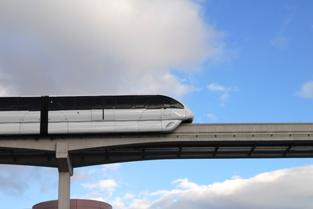 A monorail travels above the Las Vegas Convention Center
