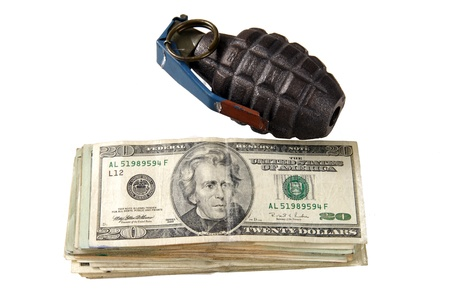 A stack of UnitedStates currency with a hand grenade