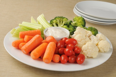 A party plate loaded with vegetables and ranch dressing Stock Photo - 12267989